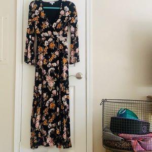 Long Black Floral Maxi Dress - XS